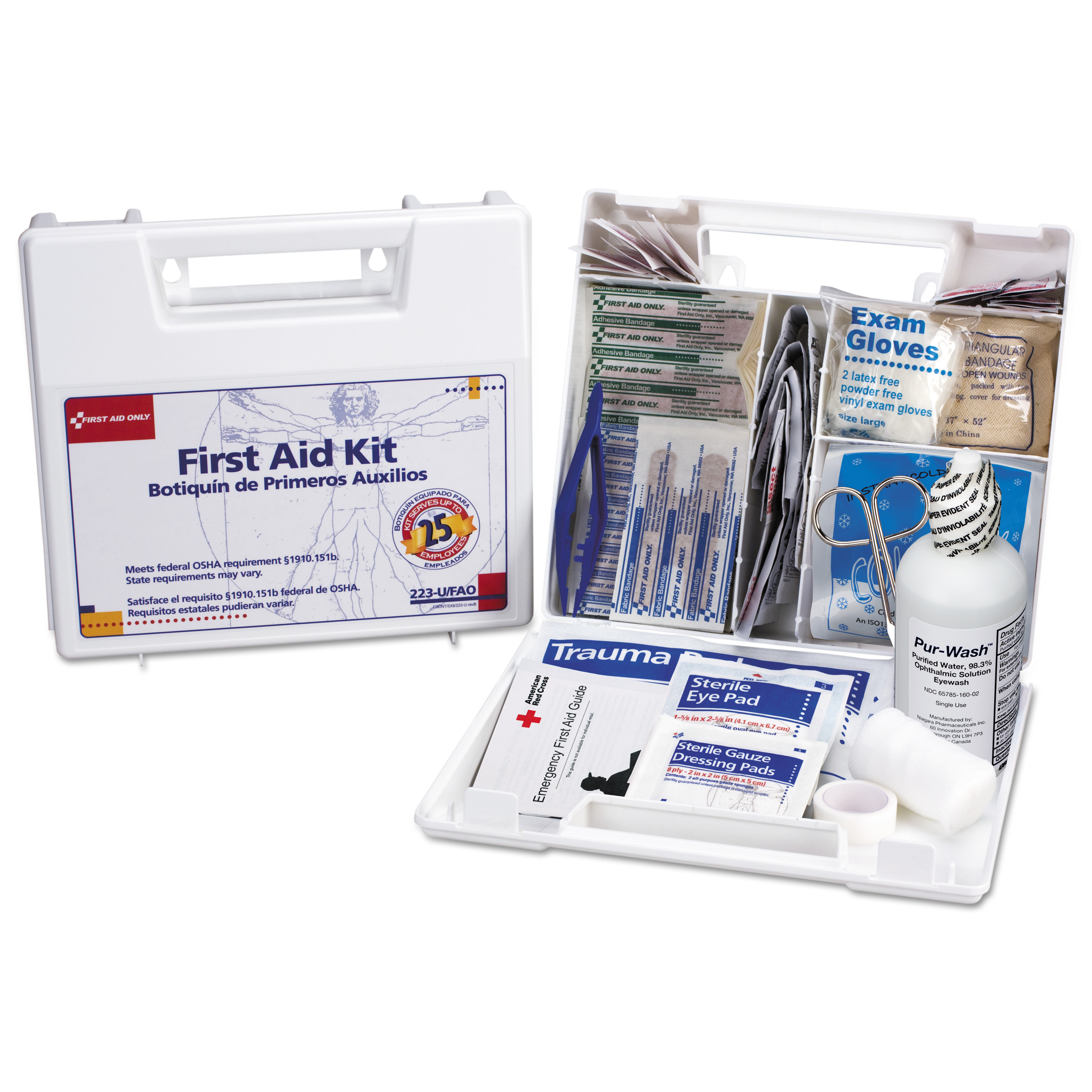 First Aid Only Bulk First Aid Kit for 25 People, 107-Pieces, OSHA Compliant, Plastic Case