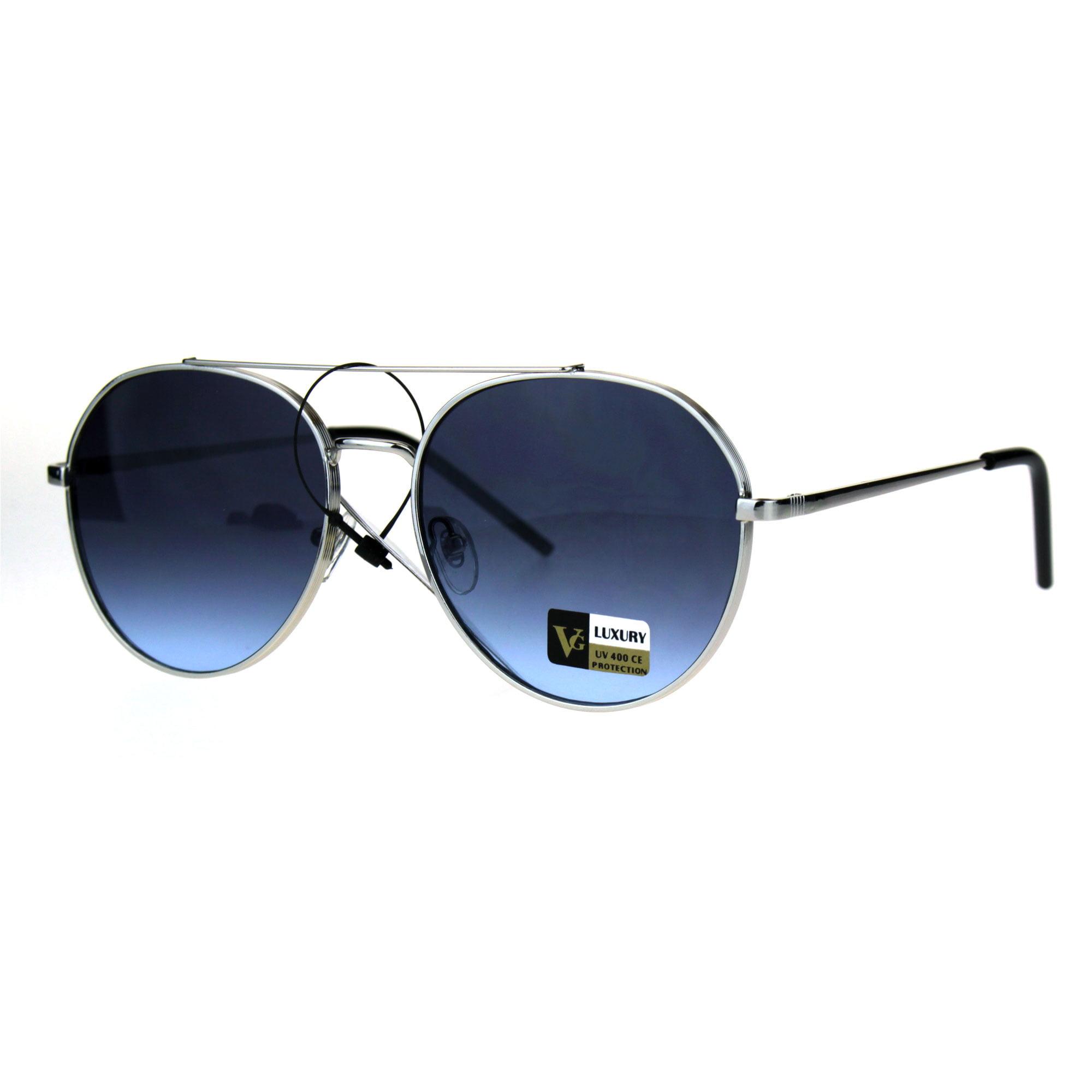 a7c13118eb3 Luxury Designer Fashion Metal Rim Aviator Flat Top Bar Sunglasses Black Blue