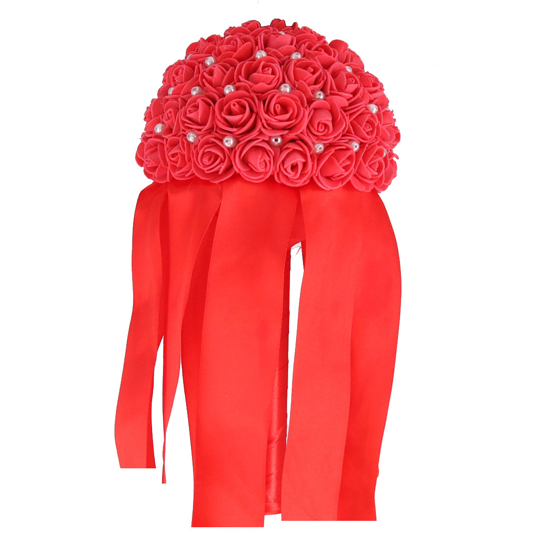 Bridal Wedding Foam Rose Flower Beads Decor Handhold Bouquet Watermelon Red