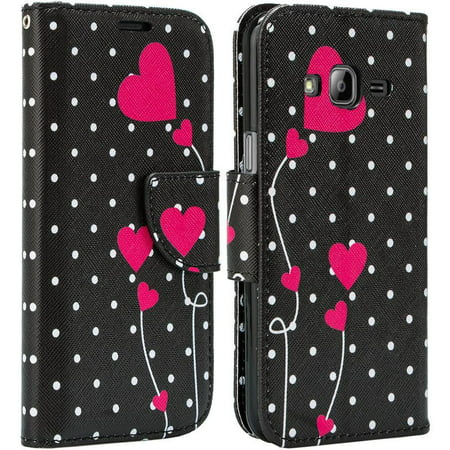 Leather Wallet Cover Samsung Galaxy Go Prime, Grand Prime Case, Slim Magnetic Flip Kickstand - Polka Dot Heart ()