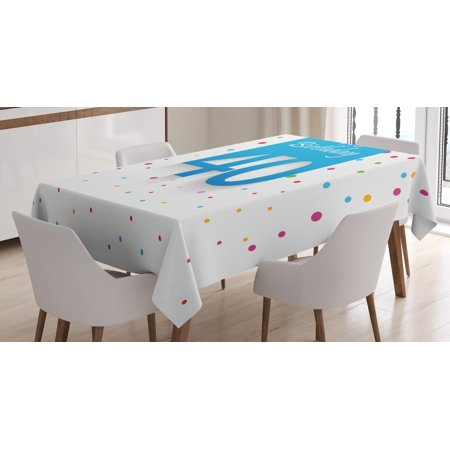 40th Birthday Decorations Tablecloth, Stylized Framework Retro Style Colorful Conffetti Rain Polka Dots, Rectangular Table Cover for Dining Room Kitchen, 52 X 70 Inches, Multicolor, by