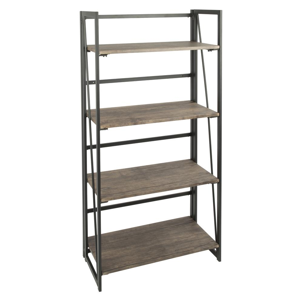 LumiSource Dakota Industrial Bookcase - Black/Natural