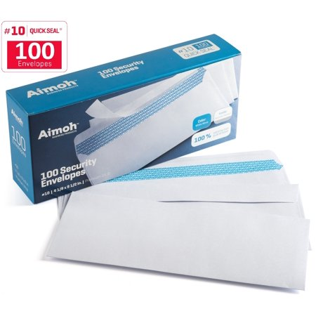 Doc Envelope - #10 Security Tinted Self‐Seal Windowless Envelopes ‐ 4‐1/8 x 9‐1/2 - 100 Count (34100)