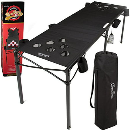 Camerons Portable Beer Pong Table- Collapsible 6 FT Beach Size Beirut Table w Cup Holders, 6 Balls, Stakes and Travel Bag - Party City Beer Pong Table