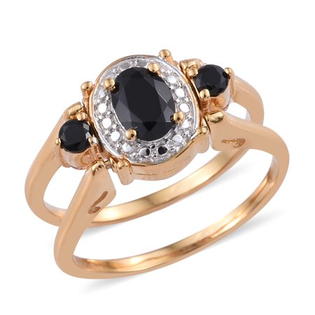 5 Ct Diamond Rings - Shop LC Delivering Joy ION Plated 18K Yellow Gold Black Spinel White Topaz Statement Ring for Women Size 5 Ct 4.2