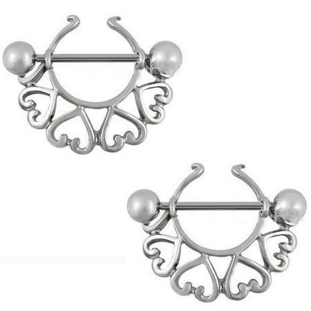 Nipple Shield Rings barbell barbells sold as a pair 14 gauge Hearts