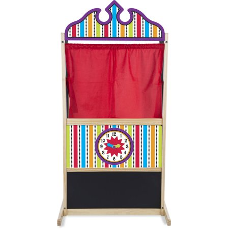 Melissa & Doug Deluxe Puppet Theater (Sturdy Non-Tip Base, Plush Curtains, 52 ″ H × 18″ W × 24.75″