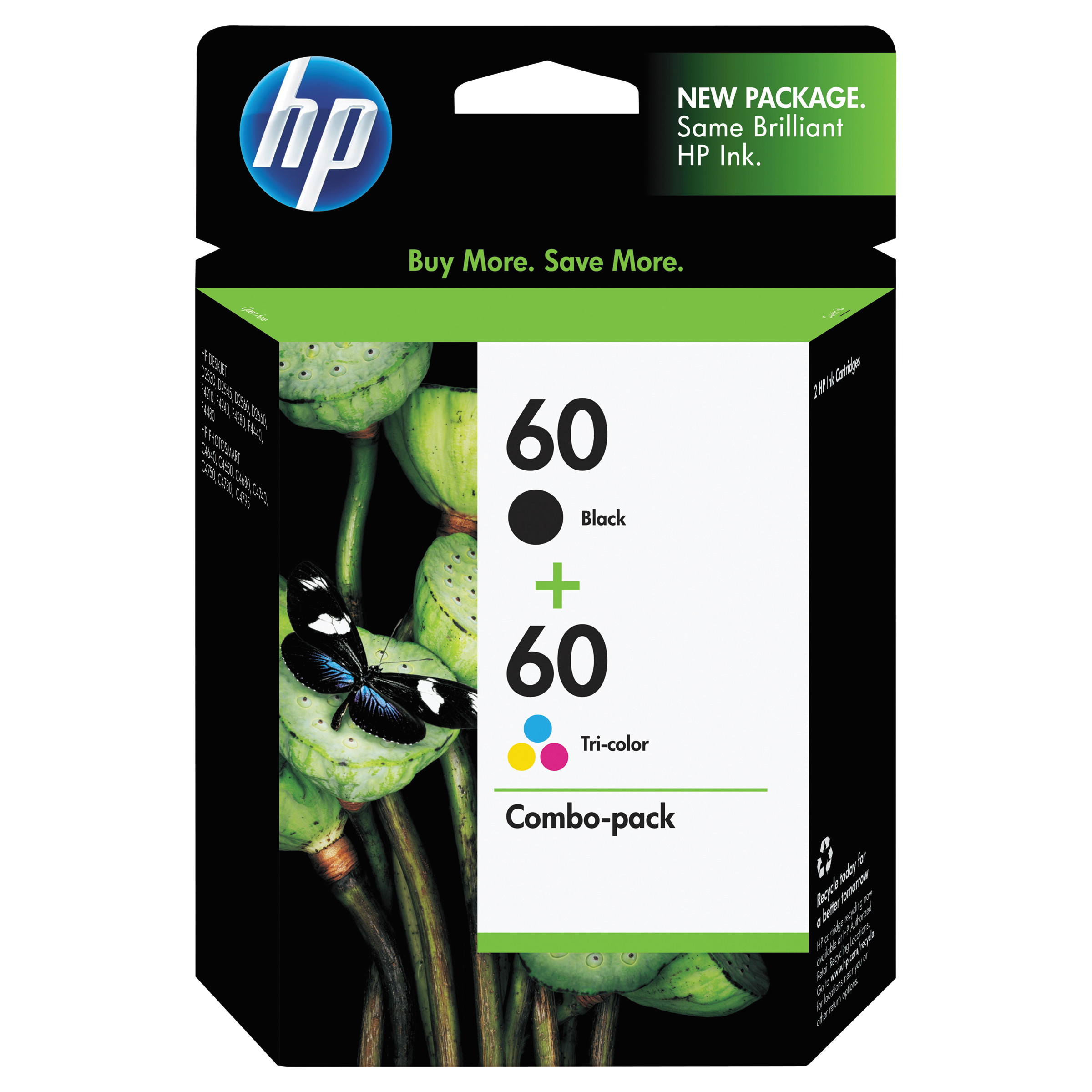 HP 60, (N9H63FN) Black/Tri-Color 2-pack Original Ink Cartridges