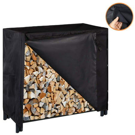 4ft Heavy Duty Indoor Outdoor Firewood Storage Log Rack with Cover Combo Set Black ()