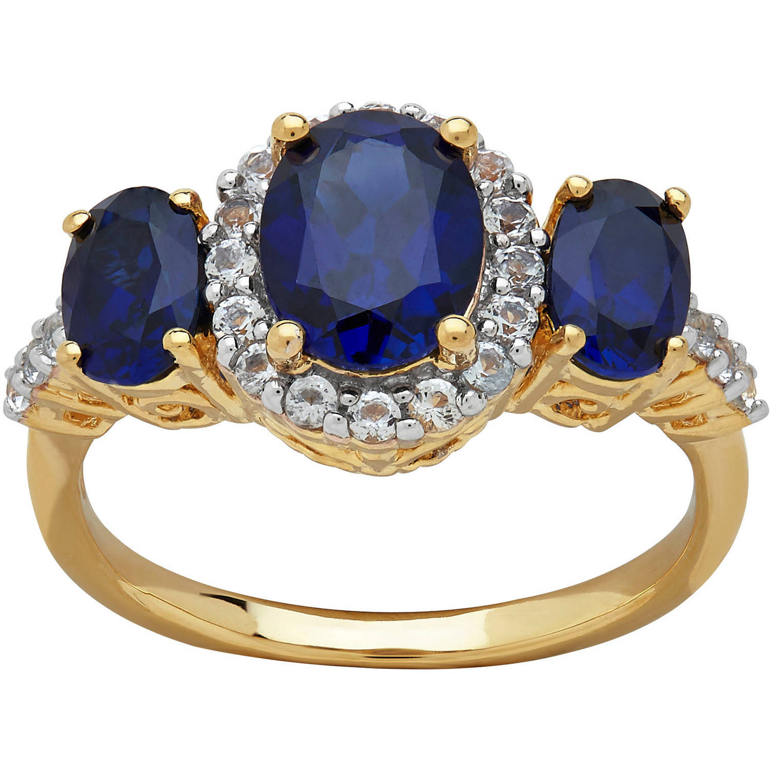 Created Sapphire and White Topaz Accent Gold over Sterling Silver Ring, Size 7