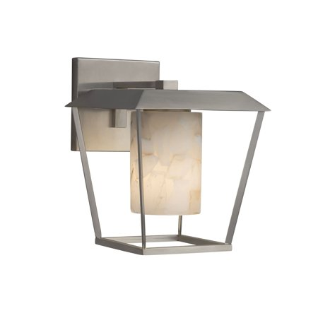 Justice Design  Group Alabaster Rocks Patina 1-light Brushed Nickel Large Outdoor Wall Sconce, Cylinder - Flat Rim Shade