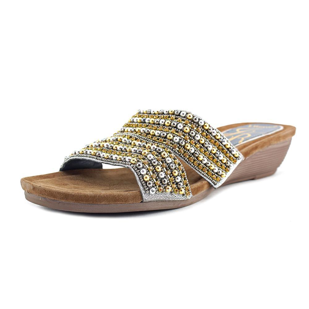 J. Renee Antonina Open Toe Leather Wedge Sandal by J. Renee