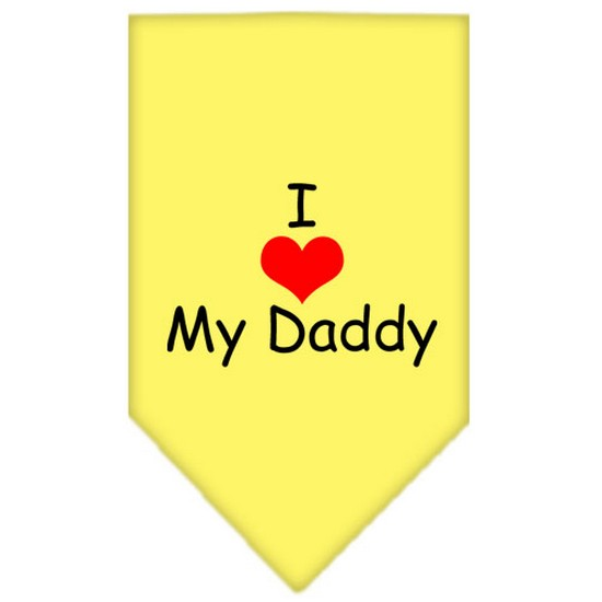 I Heart My Daddy  Screen Print Bandana Yellow Large