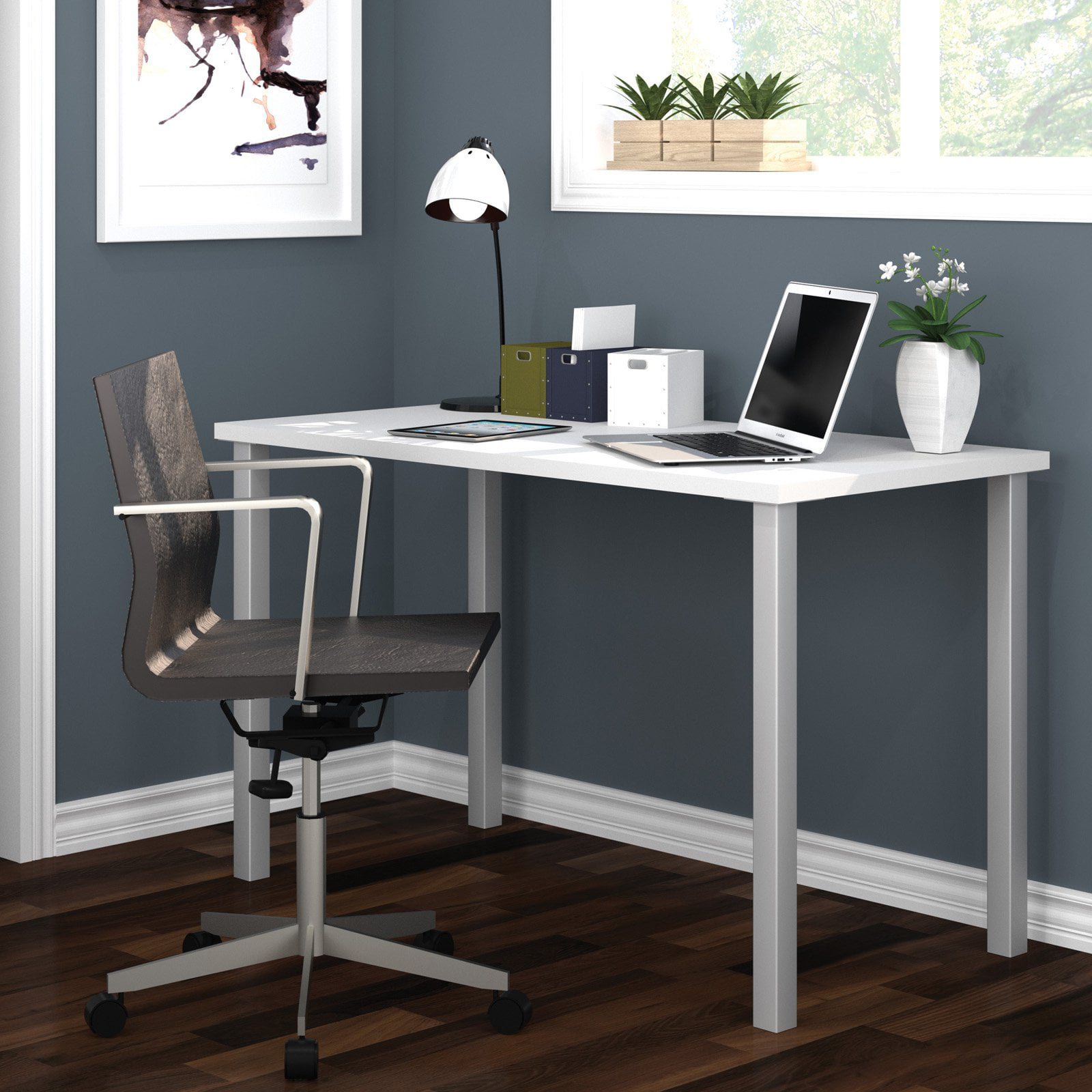 """Bestar 24"""" x 48"""" Table with square metal legs in White by Bestar"""