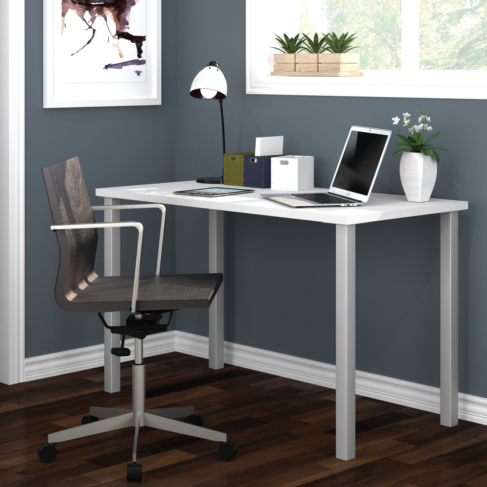 "Bestar 24"" x 48"" Table with square metal legs in White"