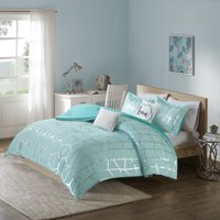 Home Essence Apartment Arielle Metallic Printed Comforter Set, Twin/Twin XL, Aqua/Silver