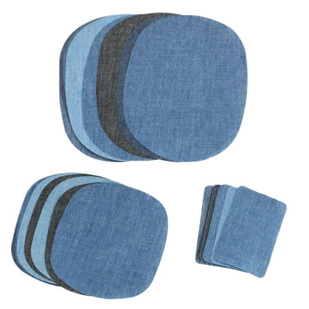 Iron On Denim Patches for Clothing Jeans, 30-pack No-Sew Denim Patches Assorted Cotton Jeans Repair Kit Great for DIY Sew on Patch for Jeans, with 3 Assorted