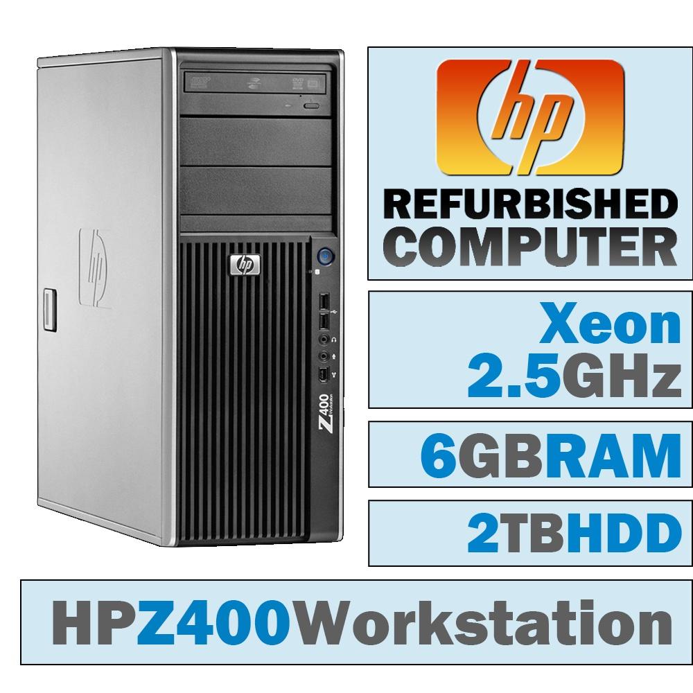 REFURBISHED HP Z400 Workstation TWR/Xeon W3505 @ 2.53 GHz/6GB DDR3/2TB HDD/DVD-RW/No OS