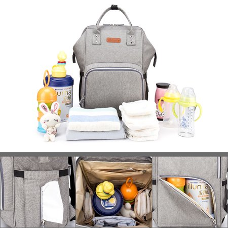 Large Capacity Diaper Bag Nappy Changing Backpack with USB Charging Port and Stroller Straps Anti-Theft Waterproof Wide Shoulder Nappy Bag Travel Laptop Backpack Organizer[Upgraded Version] ,Gray (Crossbody Diaper Bag)