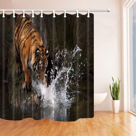 BOSDECO Wildlife Animal Nature Tiger Playing Water in Forest Polyester Fabric Bath Curtain, Bathroom Shower Curtain 66x72 inches - image 1 de 1