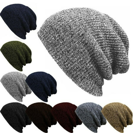 Men Slouch Skull Oversize Long Beanie Women Baggy Cap Crochet Knit Ski Hat