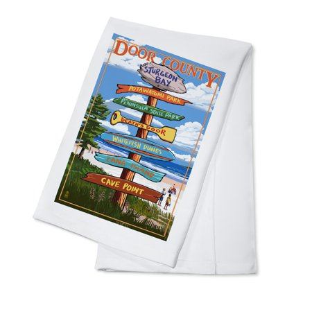 Door County, Wisconsin - Destination Signpost - Lantern Press Artwork (100% Cotton Kitchen