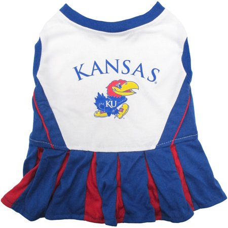 Pets First College Kansas Jayhawks Cheerleader, 3 Sizes Pet Dress Available. Licensed Dog Outfit](Dog Cheerleader Outfit)
