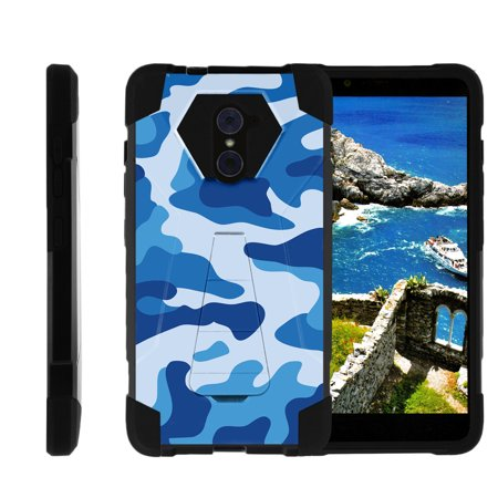 Case for ZTE Grand X Max 2 | ZTE Imperial Max Case [ Shock Fusion ] High Impact Shock Resistant Shell Case + Kickstand - Navy Camo Imperial Russian Navy