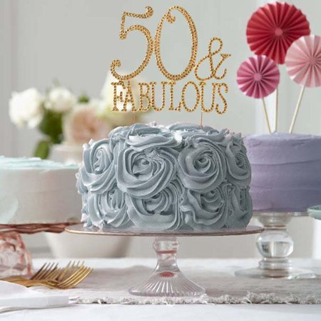 50 Birthday Decorations (Efavormart 50 & Fabulous Gold Metallic Rhinestones Embeded Cake Topper For Wedding Party Special Event Personalized)