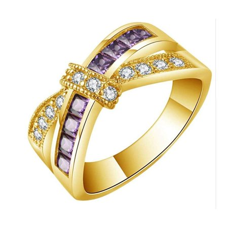 Ginger Lyne Collection Veranda Cross Gold Plated Love Knot Purple Clear Cubic Zirconia Ring Size - Plated Love Knot