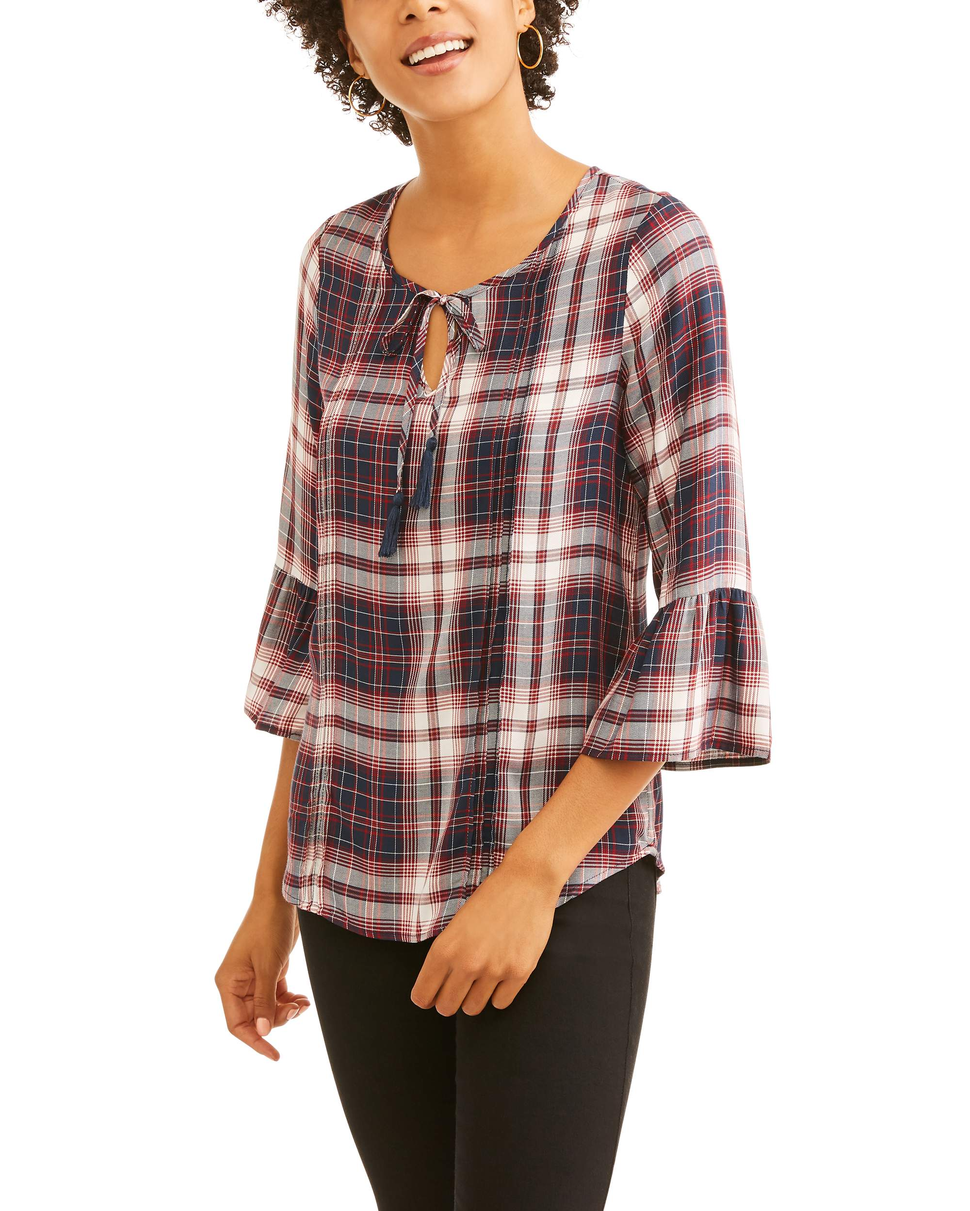 e Women's Plaid Peasant Top