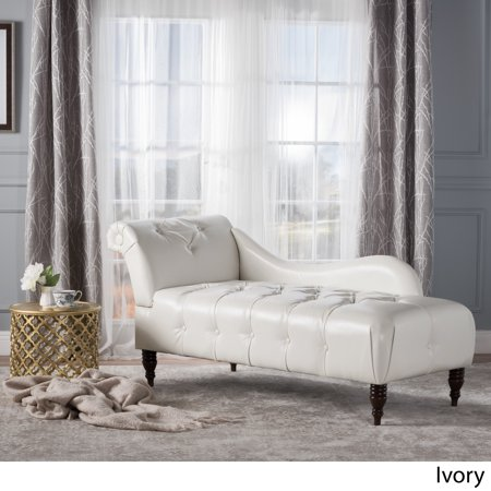 Ariel Leather Tufted Chaise Lounge Ivory Walmart Com