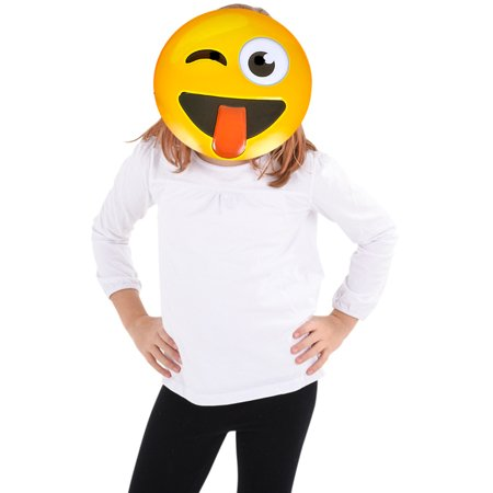 Texting Emoticon Emoji Tongue Stuck Out Face Mask Costume Accessory