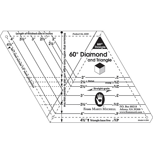 60 Degree Diamond & Triangle One-Derful One, Patch Templates