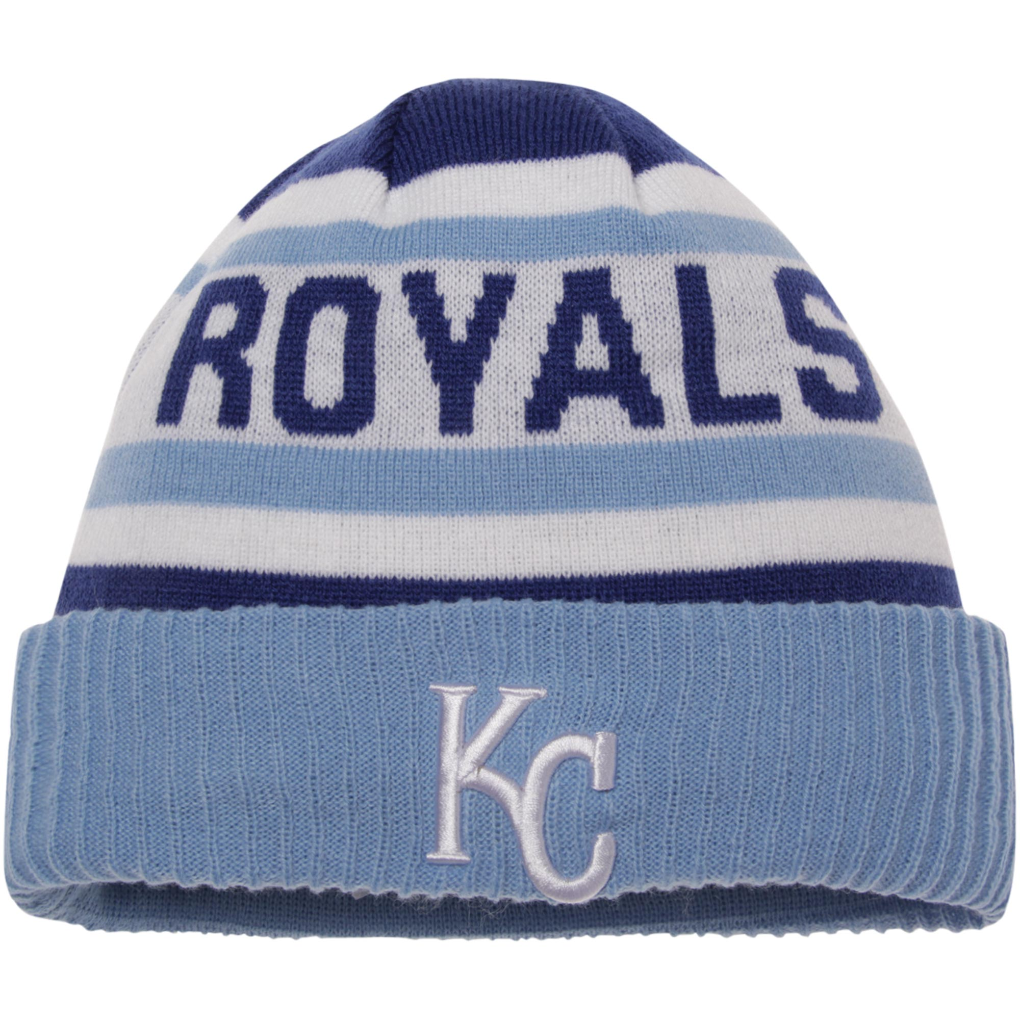 Kansas City Royals New Era Biggest Fan 2.0 Cuffed Knit Hat - White/Light Blue - OSFA