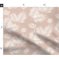 Tropical Palms On Pink Palm Tree Leaves Summer Fabric Printed by Spoonflower BTY
