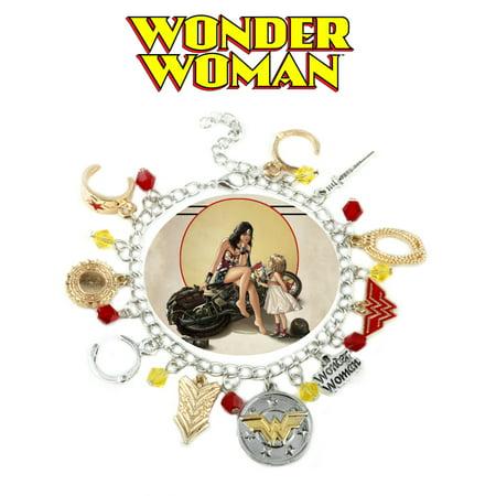 Wonder Woman Charm Bracelet TV Show Series Comics Jewelry Multi Charms - Wristlet -Superheroes Brand Movie Superhero Comic Cartoon Collection