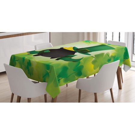 St. Patrick's Day Tablecloth, Leprechaun Hat and Shoes Costume with Pot of Gold with Shamrock Leaves, Rectangular Table Cover for Dining Room Kitchen, 60 X 84 Inches, Forest Green, by Ambesonne - Pot Leaf Costume