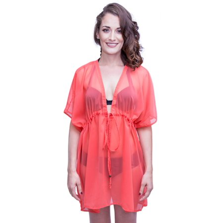 9aba03fbaa Alvish - Cover Up Women Drawstring Sheer Solid Plain Beach Swimsuit Wrap  Peach - Walmart.com
