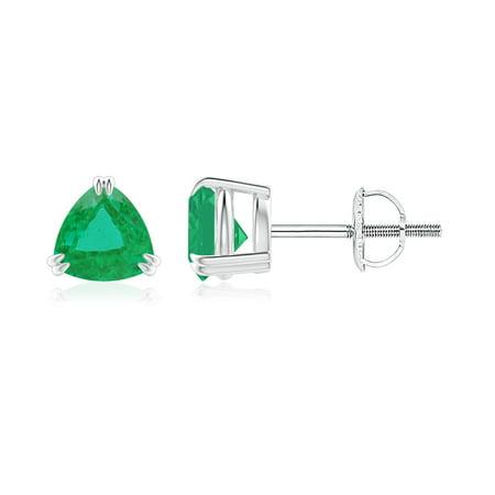 May Birthstone Earrings - Double Claw-Set Trillion Emerald Stud Earrings in 14K White Gold (5mm Emerald) -