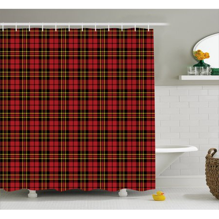 Checkered Shower Curtain Scottish British Celtic Culture Traditional Design In Classical Colors Fabric Bathroom
