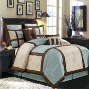 Morgan Blue 8-PC Bedding Set, Includes Comforter, Bed Skirt, Shams and Pillows - Full Size