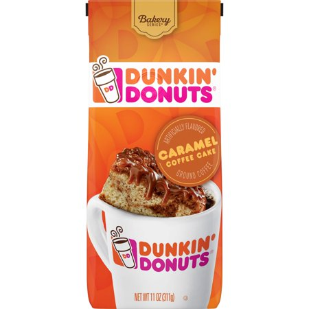 - Dunkin' Donuts Caramel Coffee Cake Flavored Ground Coffee, 11-Ounce