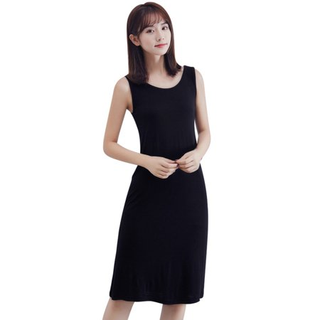 Cotton Solid Dress (OUMY Women Sleeveless Solid Color Casual Cotton)