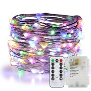 33 Feet 100 Led Fairy Lights Battery Operated with Remote Control Timer Waterproof Copper Wire Twinkle String Lights for Bedroom Indoor Outdoor Wedding Dorm Decor (Multicolor)