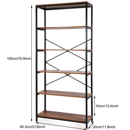 Special!5-tier Wooden Bookcase Storage Shelves Organizer, Retro Bookshelf Plant Display Shelf, Wood and Steel Frame Open Wide for Balcony/Study Room/Living room (Decorating Bookshelves For Halloween)