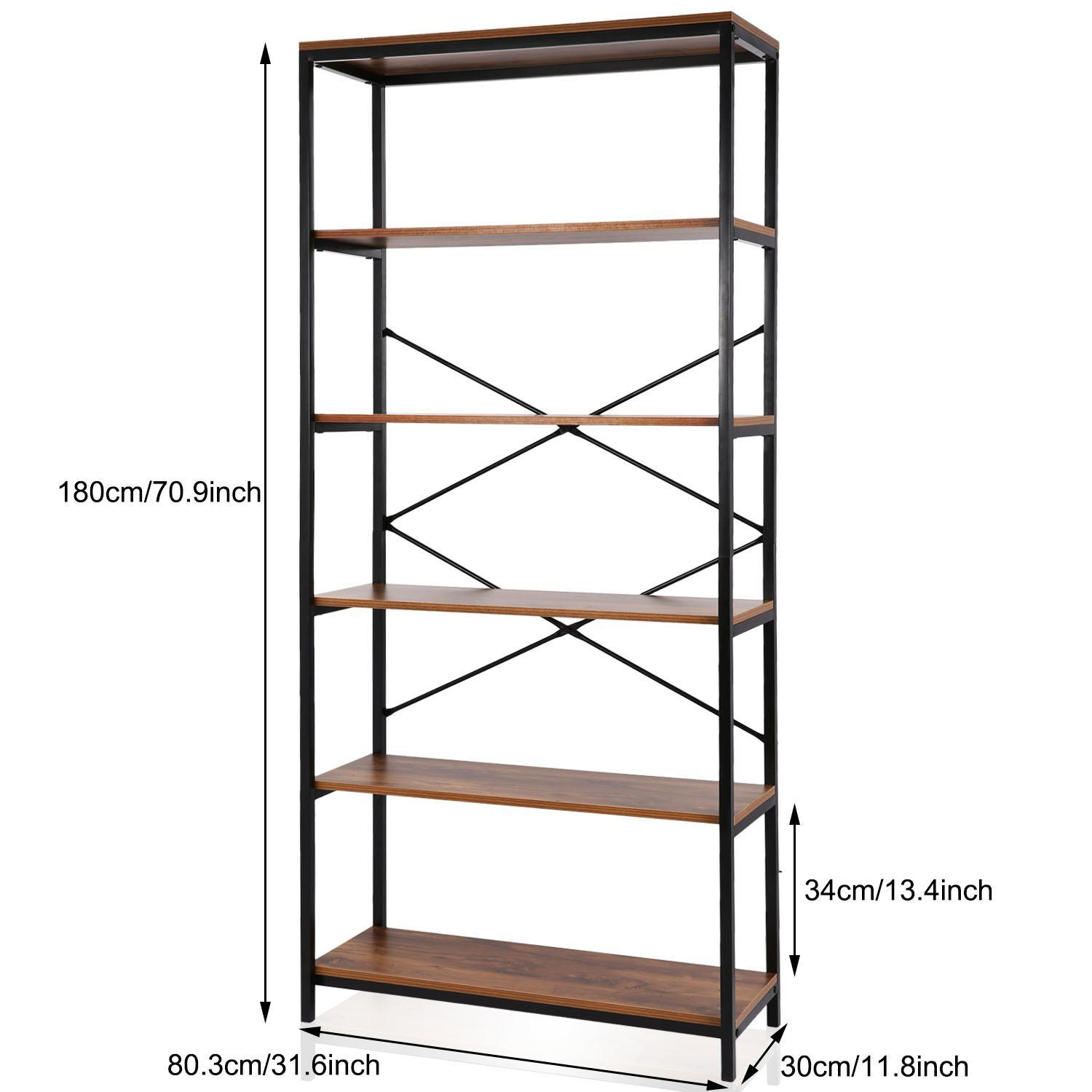 Special!5-tier Wooden Bookcase Storage Shelves Organizer, Retro Bookshelf Plant Display Shelf, Wood and Steel Frame Open Wide for Balcony/Study Room/Living room