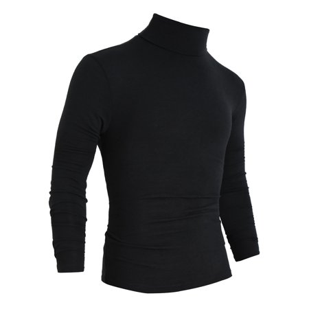 Unique Bargains Men's NEW Simple Style Turtleneck Stretch Slim Fit Fall Top (Fall Style Men)