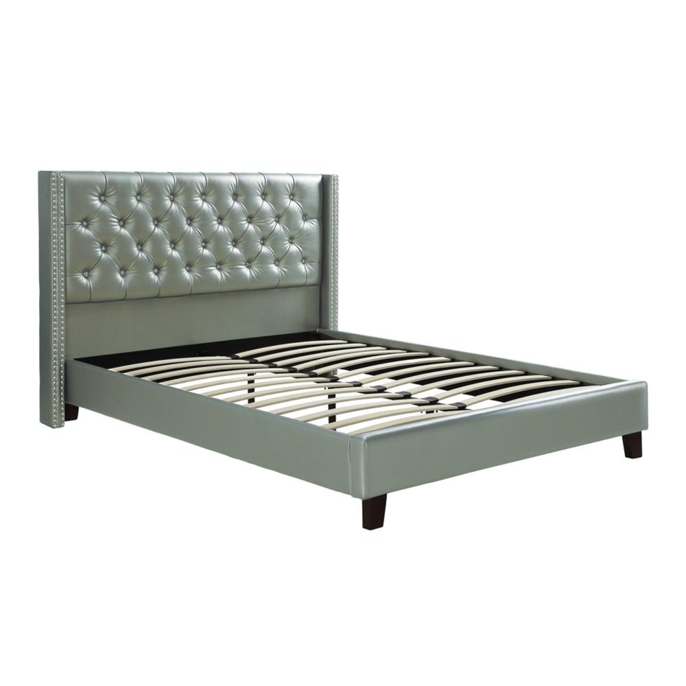 Faux Leather Upholstered Full Size Bed Featuring Nail Head Trim-Color:Silver