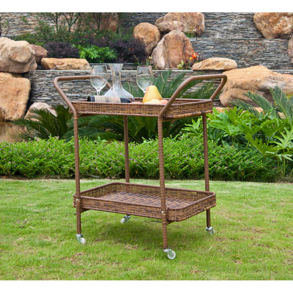 Wicker Lane Outdoor Wicker Patio Furniture Serving Cart by Supplier Generic